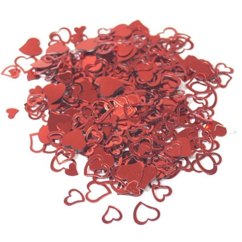 Wedding Table Confetti Scatter Sprinkle Party Decoration Foil Cut Out Hearts Red