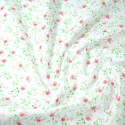 Polycotton Fabric Summer Joy Floral Flowers White