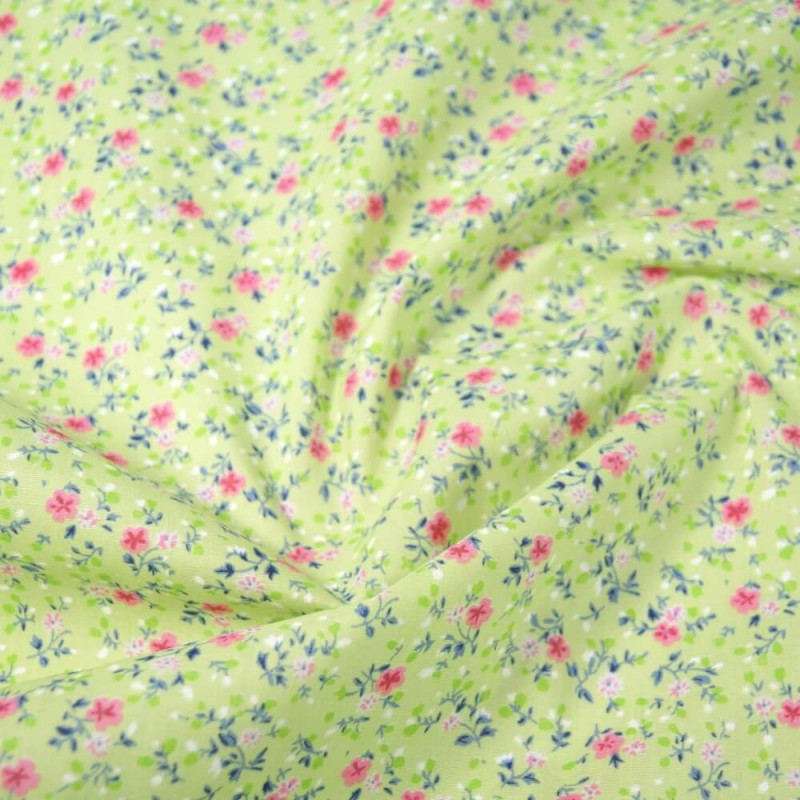 Polycotton Fabric Summer Joy Floral Flowers Mint Green