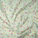 Polycotton Fabric Summer Joy Floral Flowers Green