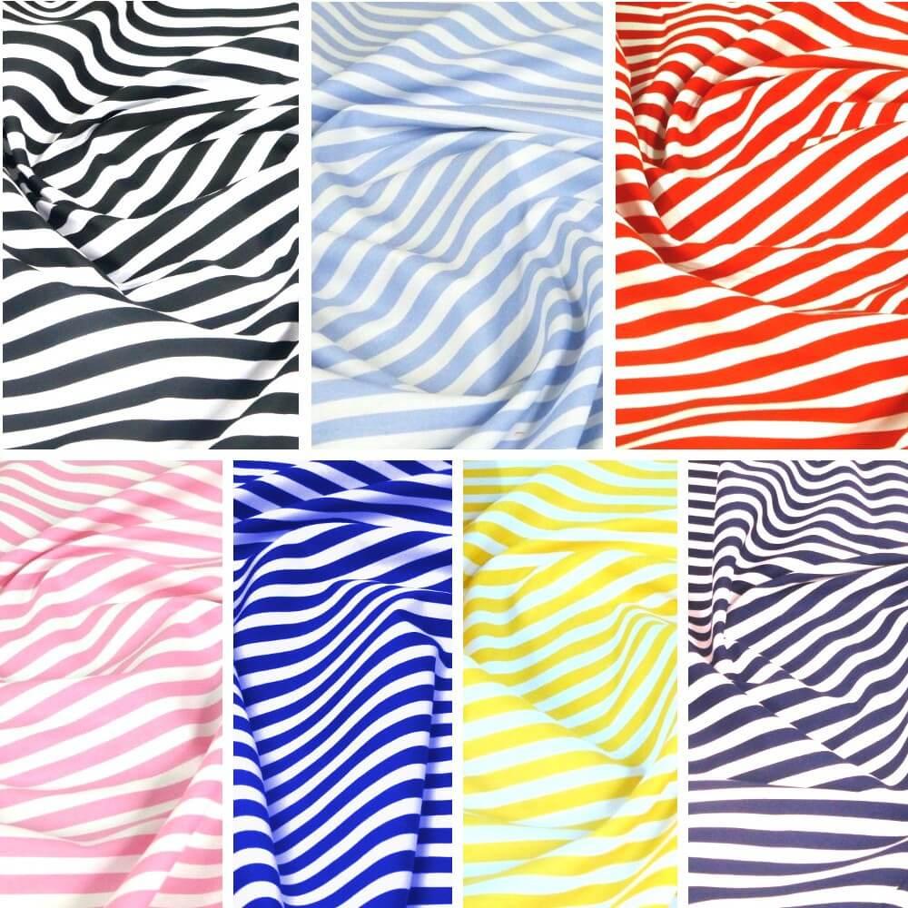 100% Cotton Poplin Fabric Rose & Hubble 8mm Candy Stripes Striped Navy