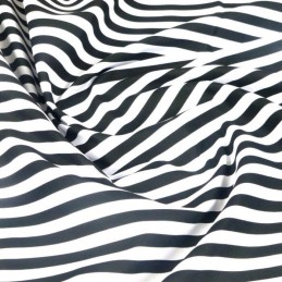 100% Cotton Poplin Fabric Rose & Hubble 8mm Candy Stripes Striped Black