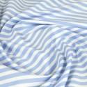 100% Cotton Poplin Fabric Rose & Hubble 8mm Candy Stripes Striped Pale Blue