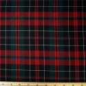 Tartan Plaid Check Polyviscose Fabric 150cm Wide, 190 gsm All Ranges 26 Red & White Line On Teal & Black