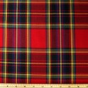 Tartan Plaid Check Polyviscose Fabric 150cm Wide, 190 gsm All Ranges 28 Blue Yellow & Red On Red & Green