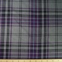 Tartan Plaid Check Polyviscose Fabric 150cm Wide, 190 gsm All Ranges 51 Purple & Grey