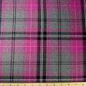 Tartan Plaid Check Polyviscose Fabric 150cm Wide, 190 gsm All Ranges 52 Pink & Grey