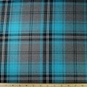 Tartan Plaid Check Polyviscose Fabric 150cm Wide, 190 gsm All Ranges 53 Turquoise & Grey