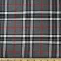 Tartan Plaid Check Polyviscose Fabric 150cm Wide, 190 gsm All Ranges 54 Red & White Line On Grey