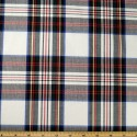 Tartan Plaid Check Polyviscose Fabric 150cm Wide, 190 gsm All Ranges 66 Green Red & Yellow On White