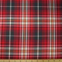 Tartan Plaid Check Polyviscose Fabric 150cm Wide, 190 gsm All Ranges 76 Red & Pink On Grey
