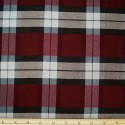 Tartan Plaid Check Polyviscose Fabric 150cm Wide, 190 gsm All Ranges 77 White On Burgundy & Black