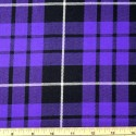 Tartan Plaid Check Polyviscose Fabric 150cm Wide, 190 gsm All Ranges 61 Purple & Black