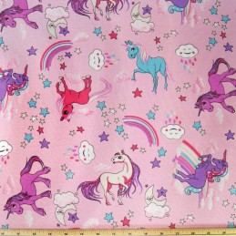 Cotton Polyester Mix Panama Upholstery Fabric Fantasy Rainbow Unicorns Pink