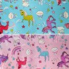 Cotton Polyester Mix Panama Upholstery Fabric Fantasy Rainbow Unicorns