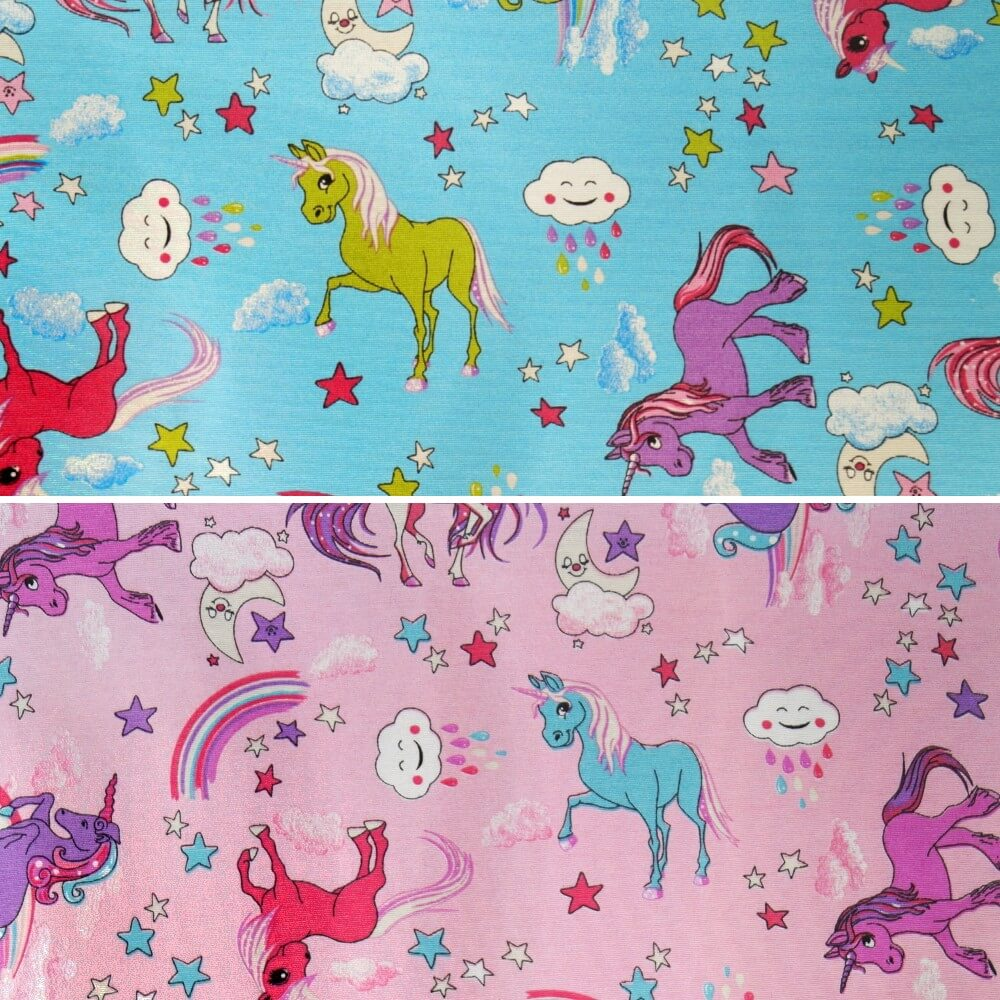 Cotton Polyester Mix Panama Upholstery Fabric Fantasy Rainbow Unicorns Sky Blue