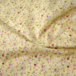 Polycotton Fabric Weaving Rose Garden Floral Flowers  Beige