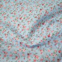 Polycotton Fabric Weaving Rose Garden Floral Flowers Pink On Blue