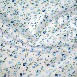 Polycotton Fabric Weaving Rose Garden Floral Flowers Navy