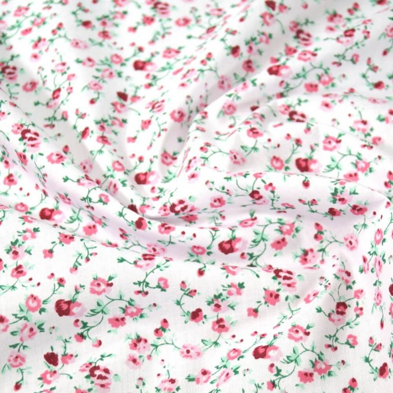 Green Bunched Flowers Polycotton Fabric 47