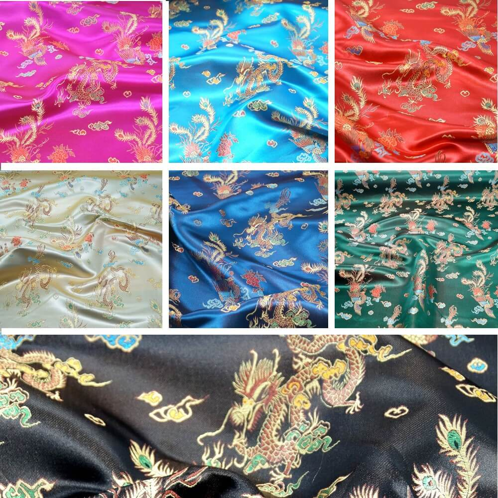 100% Polyester Chinese Brocade Dragon Embroidered Silky Satin Fabric Gold
