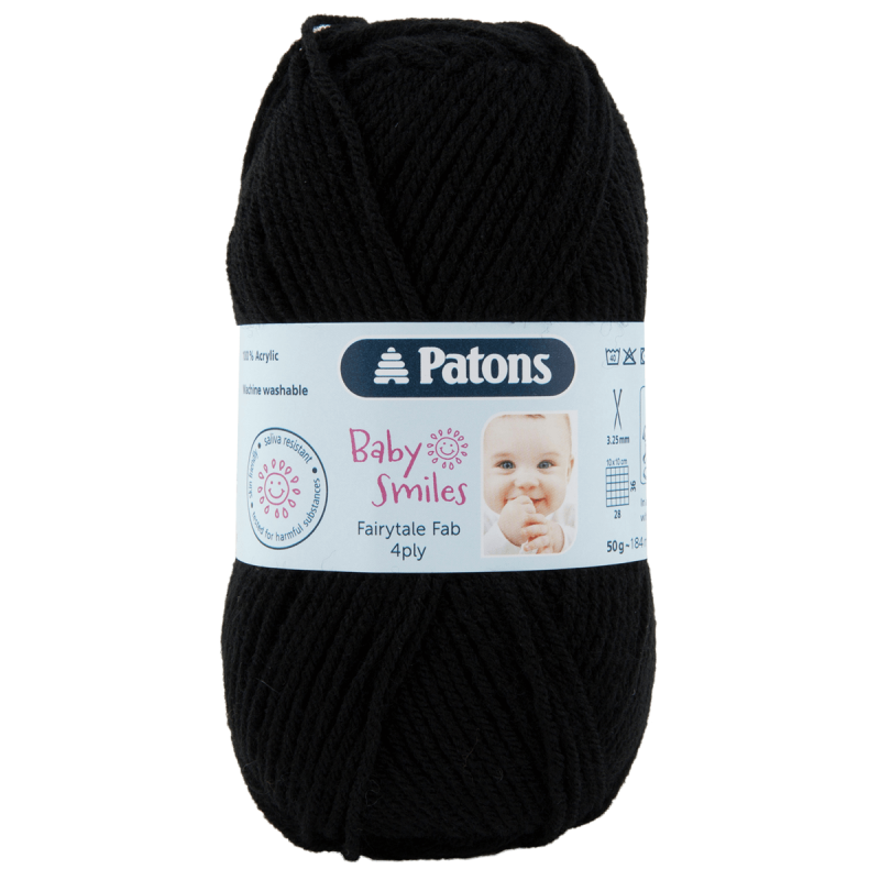 Patons Fairytale Fab Baby Smiles 4 Ply 50g Yarn Black