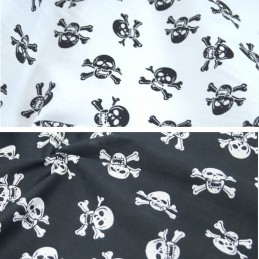 Polycotton Fabric Skull & Crossbones Halloween Gothic Pirates