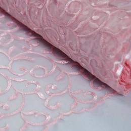 Embroidered Vine Nylon Voile Organza Curtain Dress Fabric Pink