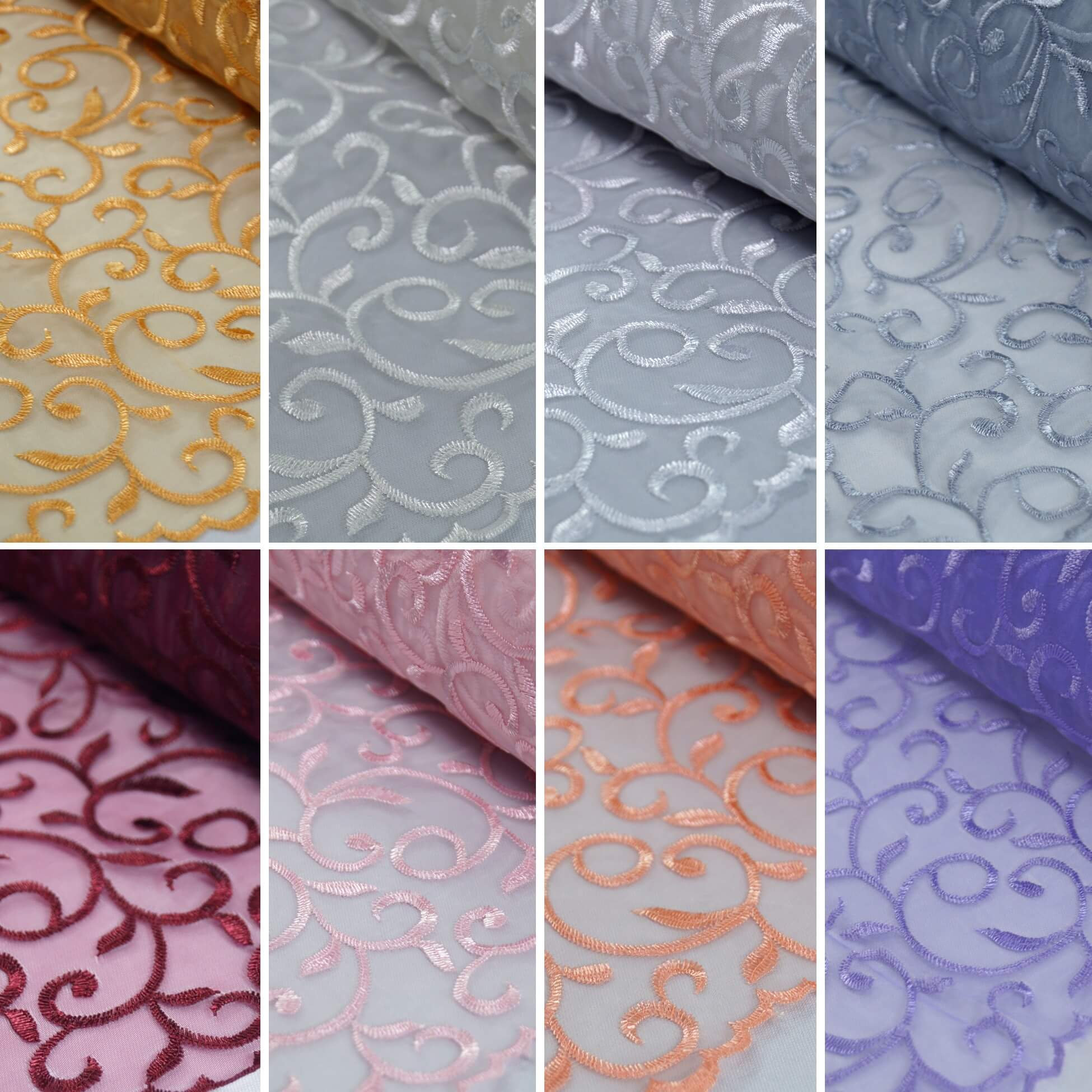 Embroidered Vine Nylon Voile Organza Curtain Dress Fabric Hyacinth