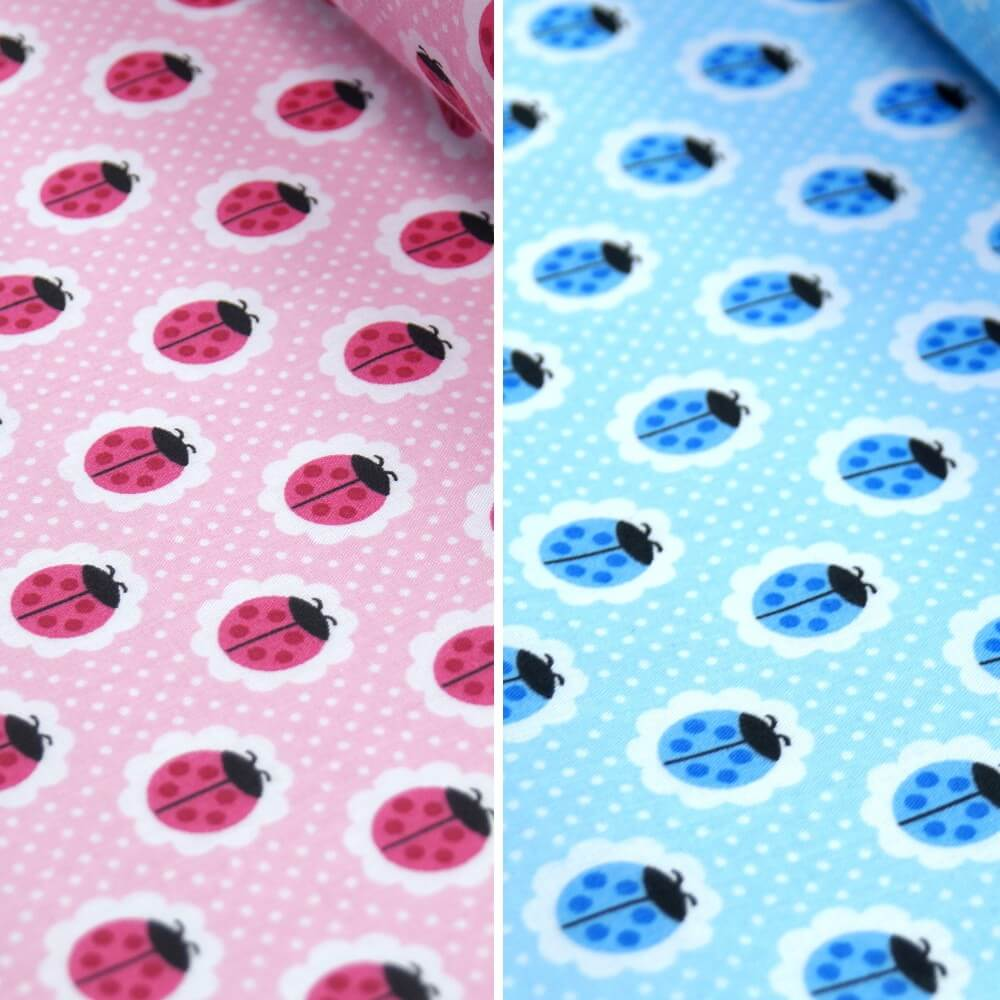 Polycotton Fabric Colourful Ladybirds On Flower Heads Spotty Blue