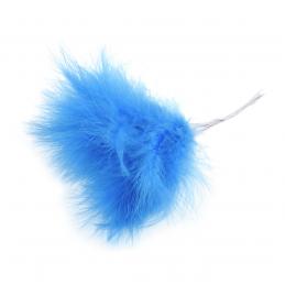 Blue Fluff Feathers Corsage, Fascinator 10cm Wire Stem Bridal Hair Hat