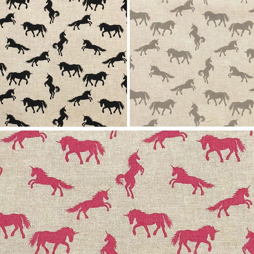 Black Unicorns Cotton Rich Linen Look Fabric Curtain Upholstery Cushion