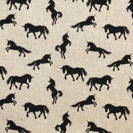 Black Unicorns Cotton Rich Linen Look Fabric Curtain Upholstery Cushion