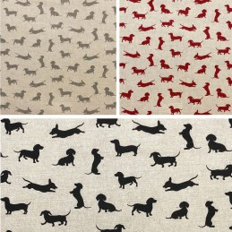 Daschund Dog Cotton Rich Linen Look Fabric Curtain Upholstery Cushion