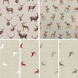 Stags Deer Cotton Rich Linen Look Fabric Curtain Upholstery Cushion