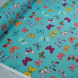 100% Cotton Poplin Fabric Rose & Hubble Bright Butterflies Fluttering Mint