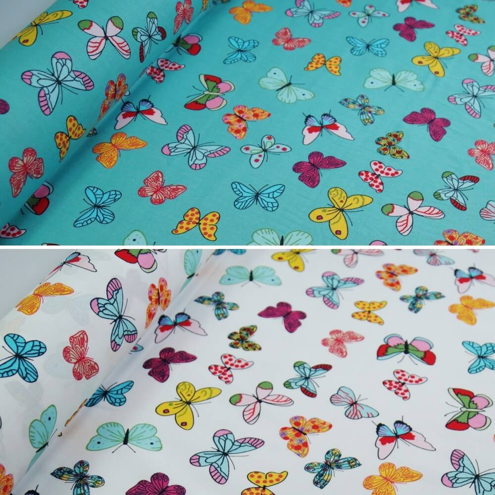 100% Cotton Poplin Fabric Rose & Hubble Bright Butterflies Fluttering Mint
