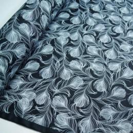 100% Cotton Poplin Fabric Rose & Hubble Silky Peacock Feathers Print Black