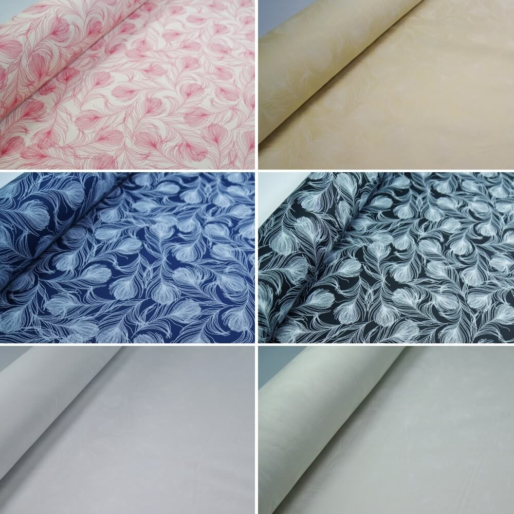 100% Cotton Poplin Fabric Rose & Hubble Silky Peacock Feathers Print Ivory