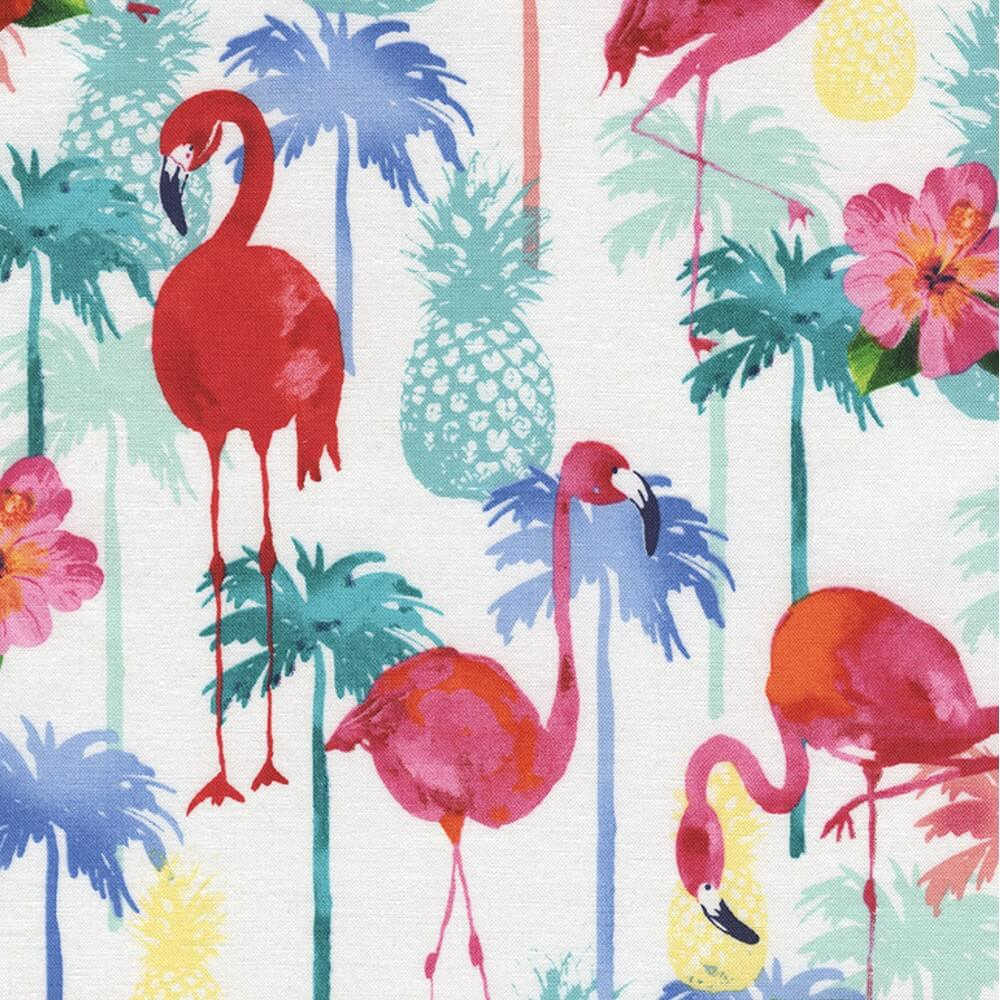 100% Cotton Fabric Timeless Treasures Flamingos & Pineapples