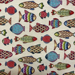 Fish Tapestry New World Designer Fabric Ideal For Upholstery Curtains Cushions Throws