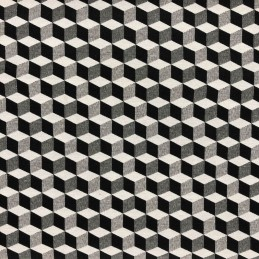 Nitro 3D Blocks Black & White Tapestry New World Designer Fabric Ideal For Upholstery Curtains Cushions Throws