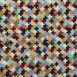 Puzzle Tapestry New World Designer Fabric Ideal For Upholstery Curtains Cushions Throws