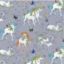 100% Cotton Fabric Pretty Please Unicorn Grey