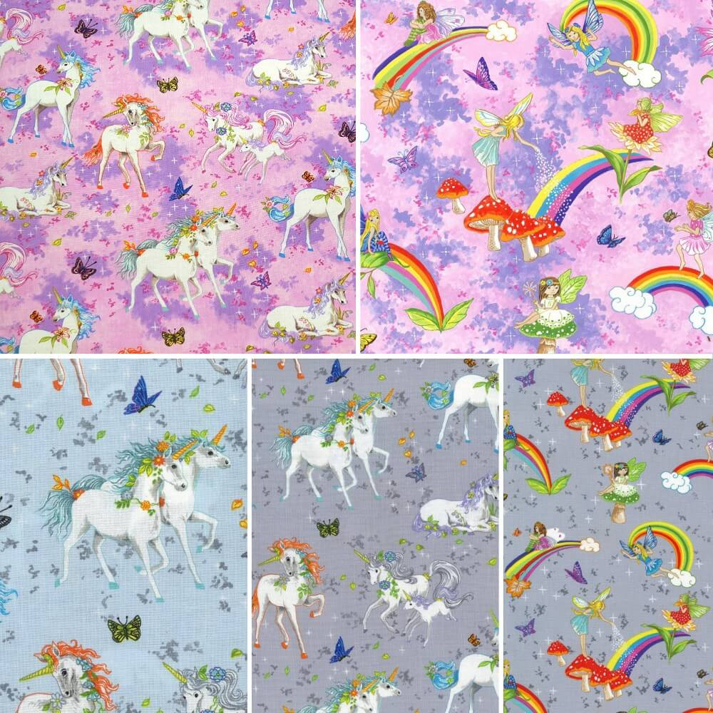 100% Cotton Fabric Pretty Please Fairies Pink