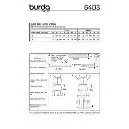Burda Style Long Short Summer Sun Dress Fabric Sewing Pattern 6403