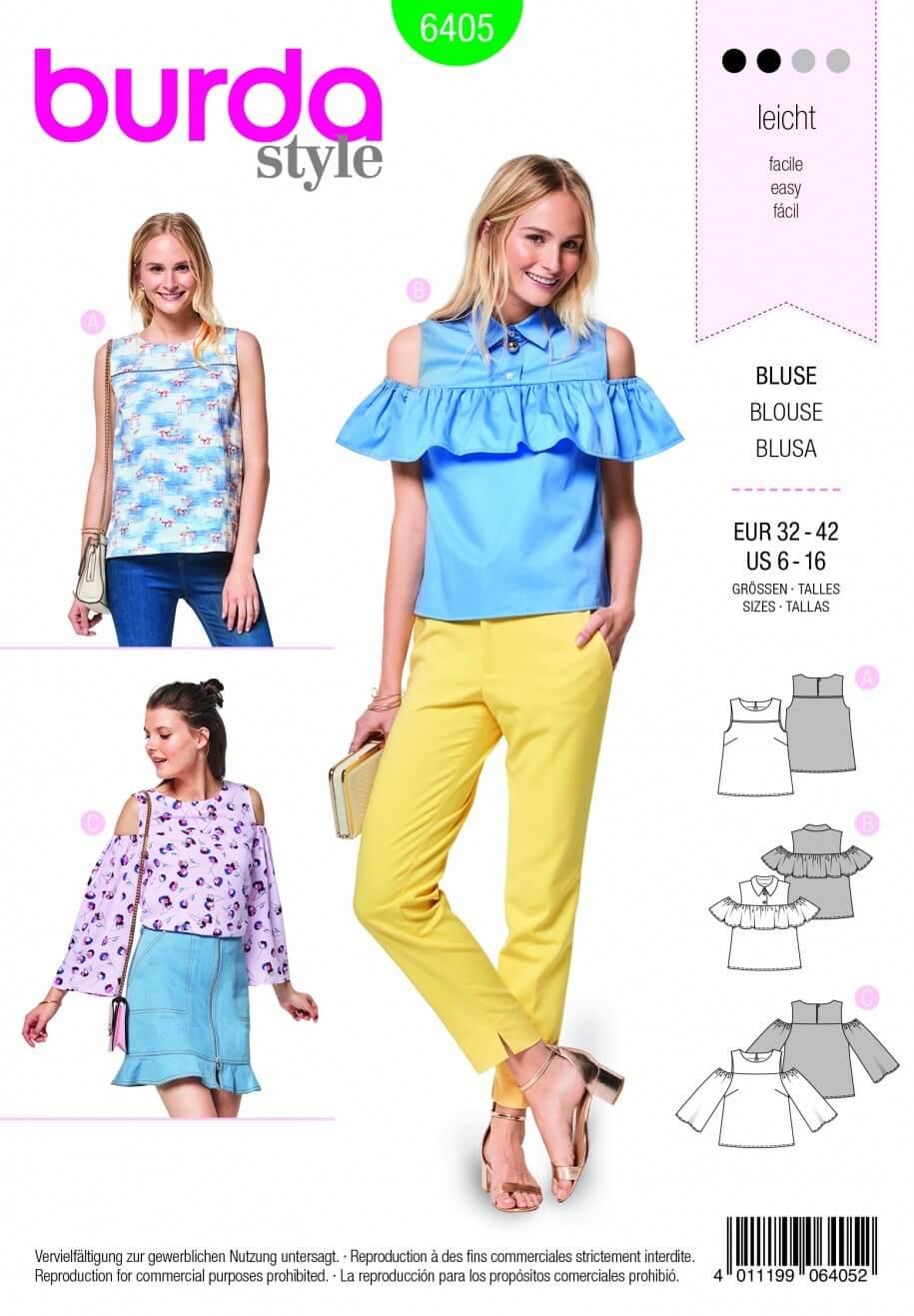 Burda Style Trio Of Summer Tops Fabric Sewing Pattern 6405