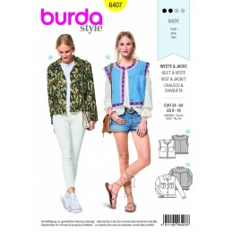 Burda Style Waistcoat and Jacket Fabric Sewing Pattern 6407