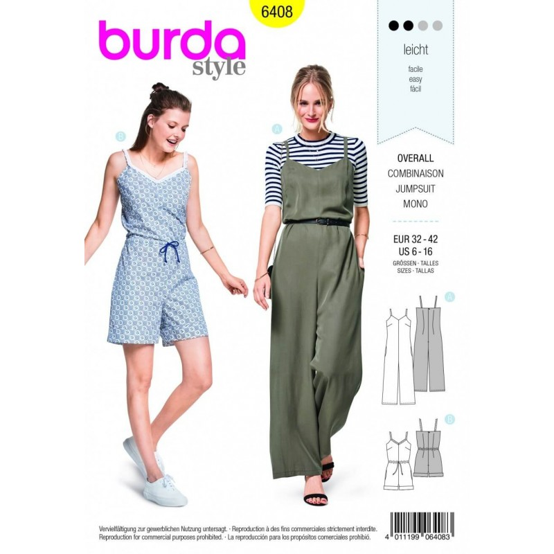 Burda Style Jumpsuit All In One Shorts Trousers Fabric Sewing Pattern 6408
