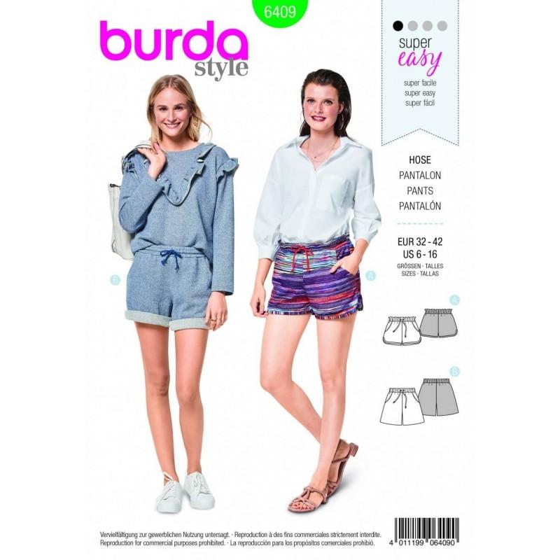Burda Style Two Styles Of Shorts Fabric Sewing Pattern 6409